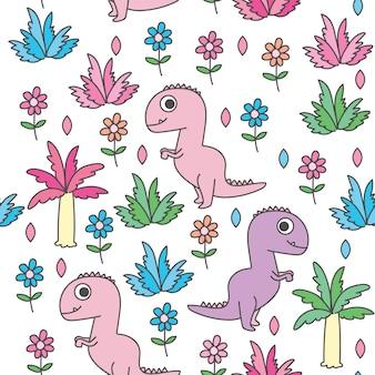 かわいい恐竜漫画のシームレスパターン