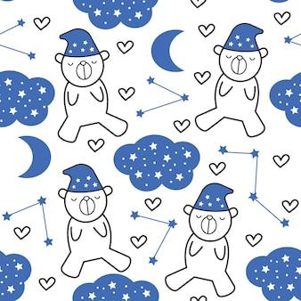 かわいい小さなクマ漫画のシームレスパターン