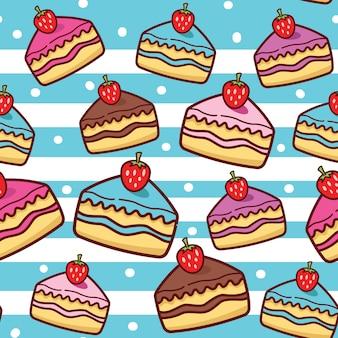 かわいいケーキのシームレスパターン