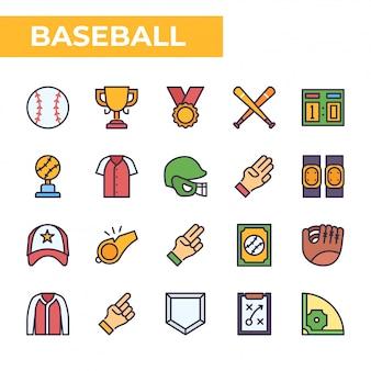野球のアイコンセット、塗りつぶされたカラースタイル