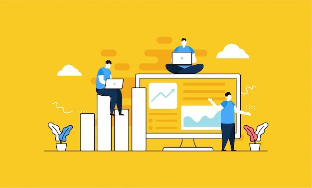 Цифровой маркетинг в плоском стиле