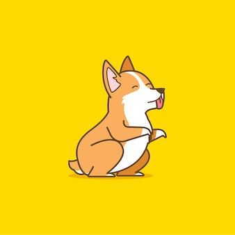 かわいいコーギー犬のイラスト