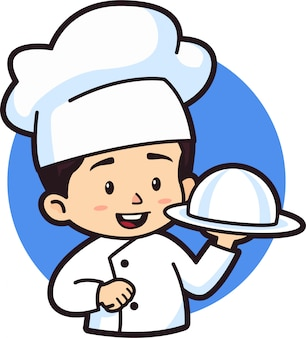 Мальчик чиби держит серебряное блюдо