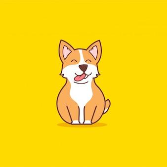 かわいい座ってコーギー犬のイラスト