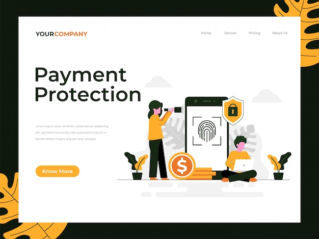 Целевая страница защиты платежей