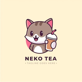 ドリンクカップ漫画のロゴを示す猫