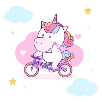 Милый единорог езда на велосипеде