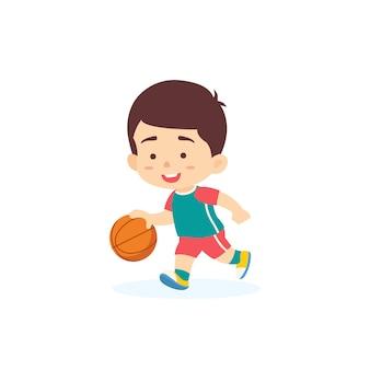 Милый мальчик дриблинг баскетбол