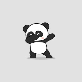 軽くたたくポーズのかわいいパンダ