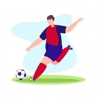 サッカー選手がボールを撃った