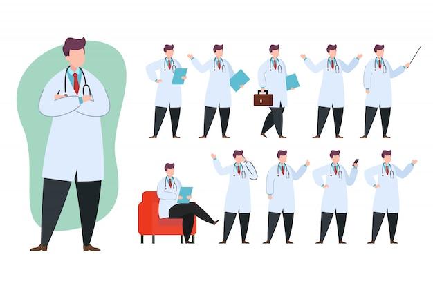 Доктор набор символов иллюстрации