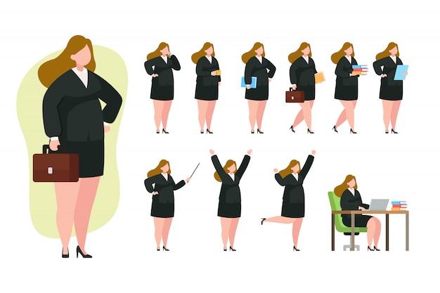 ビジネスの女性キャラクターセット図