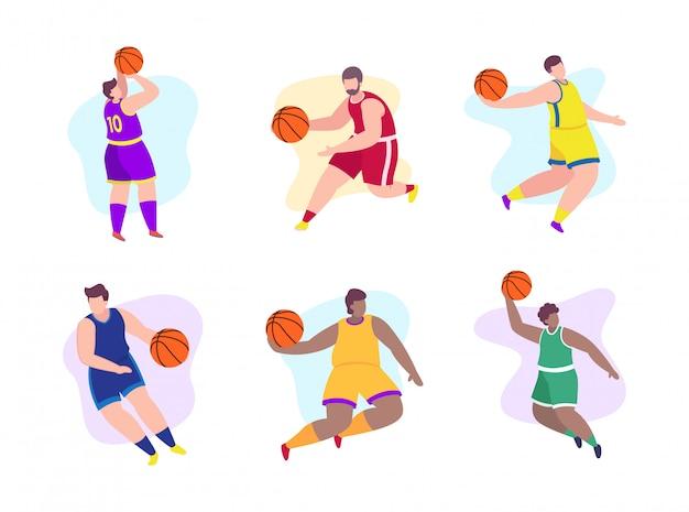 Баскетболисты плоской иллюстрации