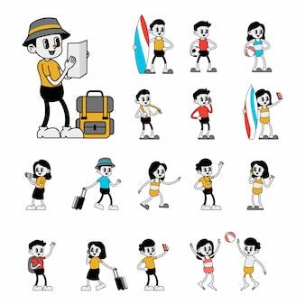 観光と旅行のレトロなキャラクター