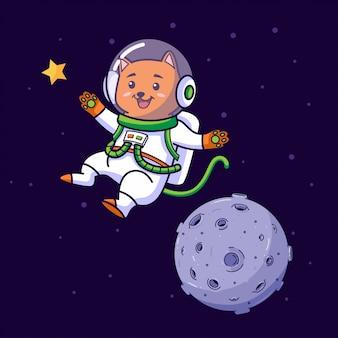 宇宙を飛んでいる猫の宇宙飛行士