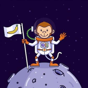 Милая обезьяна-космонавт приземляется на луну
