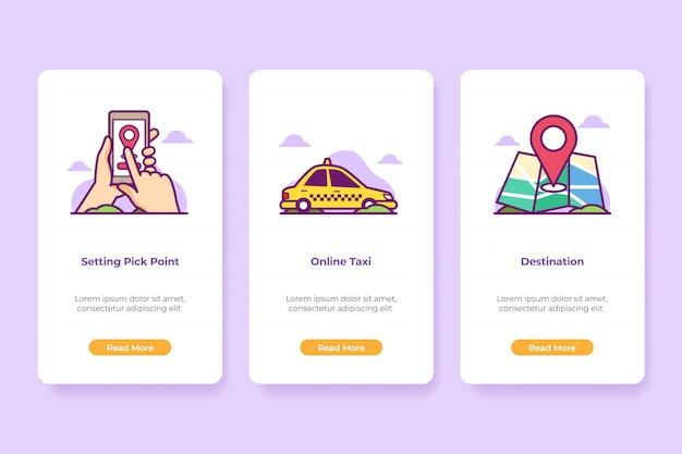 オンボーディングイラストオンラインタクシーアプリケーション