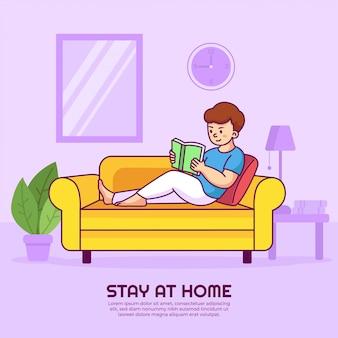 Чтение книги на диване