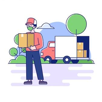 Концепция иллюстрации квартиры услуг доставки