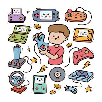 Мультяшный геймер с видеоигрой