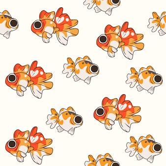 かわいい黄金の魚のパターン
