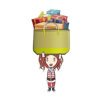 Девушка с костюмом санта-клауса с сумкой с подарками