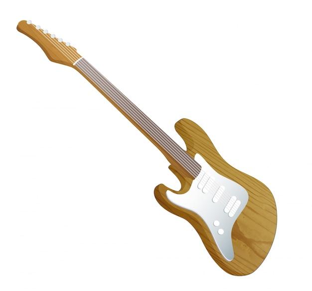 白い背景に現実的なギター。
