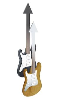 リアルなベースとギター、白い背景。