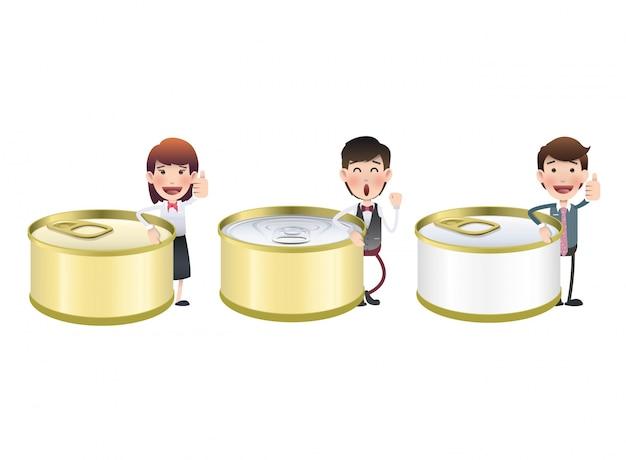閉じた缶の漫画の栄養素の缶詰