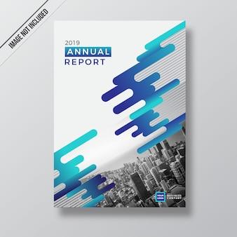 Голубой абстрактный шаблон дизайна годового отчета