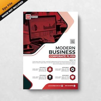 赤のモダンなビジネス企業チラシテンプレートデザイン