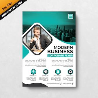 グリーンティールモダンなビジネス企業チラシテンプレートデザイン