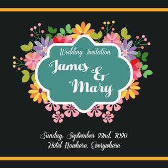Свадебное приглашение цветов с черным фоном