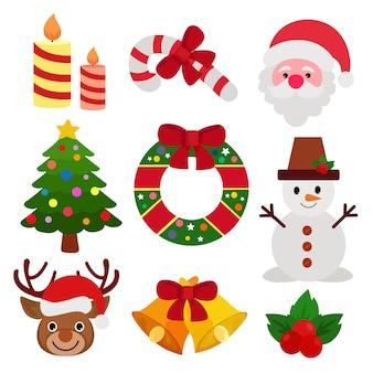 クリスマスアイコン要素セット