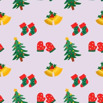 ベルの靴下と手袋でクリスマスのパターン