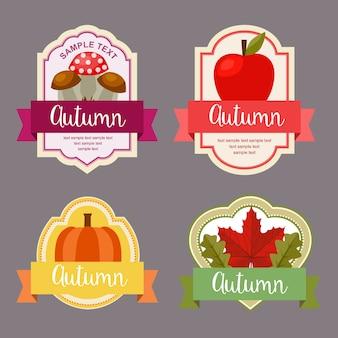 秋の紅葉、自然の要素セットを持つフラットスタイルラベル