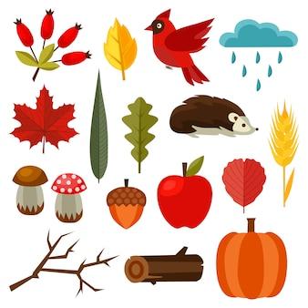 秋の自然の要素設定フラットスタイルの要素