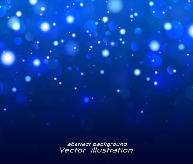 Праздничный синий светящийся фон с красочными огнями.