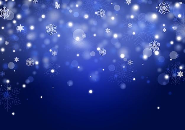 Падающий рождественский снег. реалистичные падающие снежинки.