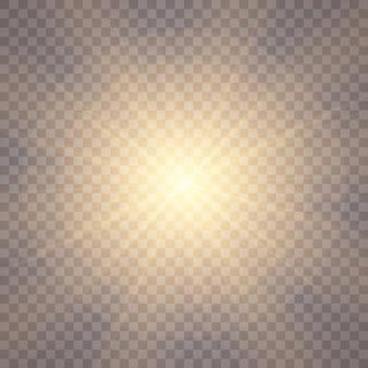 透明な背景の日光。グローライト効果。
