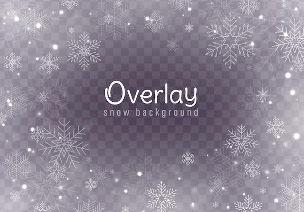 Падающий рождественский снег, снежинки, сильный снегопад.