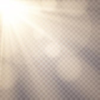 Солнечный свет фон. светящиеся световые эффекты. солнечные блики.