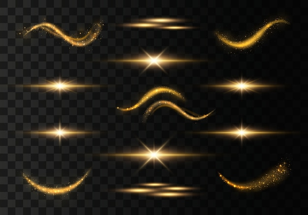 黄金の輝く光の道のセット。