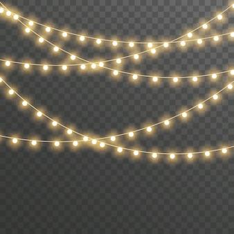Рождественские огни, гирлянда на прозрачном.