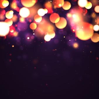 カラフルなボケライトとお祝いの紫と金色の明るい背景