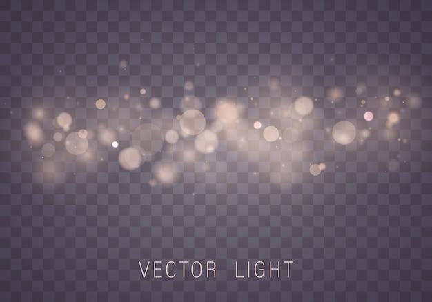 Желтое белое золото свет абстрактный светящийся эффект боке огни, изолированные на прозрачном фоне. праздничный фиолетовый и золотой светящийся фон. рождественская концепция затуманенное светлая рамка.