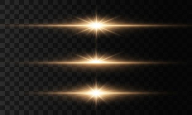 輝く光と星。透明な背景に分離されました。光のセットが爆発します。きらめく魔法の粉塵粒子。明るい星、輝く透明な太陽、フラッシュライト効果