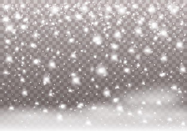 Падающий рождественский снег и снежинки.