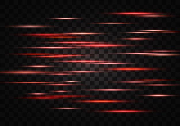 Набор цветных горизонтальных лучей, линз, линий. лазерные лучи. оранжевый, красный светящийся абстрактный игристые выстроились на прозрачном фоне. вспышки света, эффект.