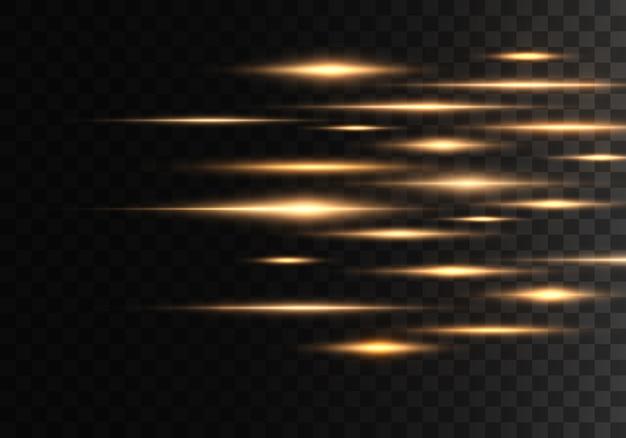 Набор цветных горизонтальных лучей, линз, линий. лазерные лучи. желтый, золотой светящийся абстрактный игристые выстроились на прозрачном фоне. вспышки света, эффект.